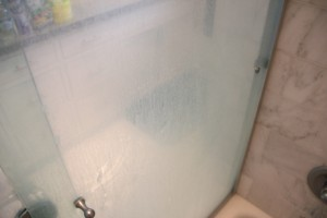 shower door with soap scum