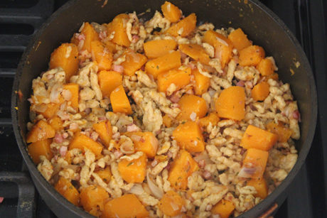 Step 7. Add the cubed squash to the pancetta and onion and cook for 3 ...